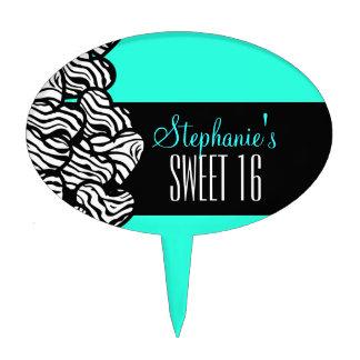 Turquoise zebra heart Sweet 16 Birthday Cakepick