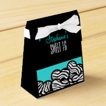Turquoise zebra heart Sweet 16 Birthday Favorbox Favor Box
