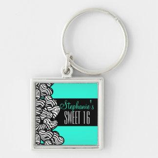 Turquoise zebra heart Sweet 16 Birthday Keychain