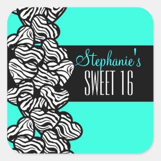Turquoise zebra heart Sweet 16 Birthday sticker