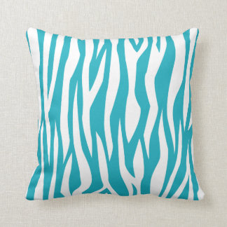 Turquoise Zebra Print Throw Pillow