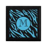 Turquoise Zebra Stripe Monogram Keepsake Box