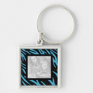 Turquoise Zebra Stripes Keepsake Photo Keychain