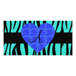 Turquoise zebra stripes monogram blue roses photo card