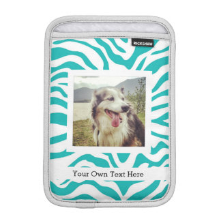 Turquoise Zebra Stripes with Photo and Text Sleeve For iPad Mini