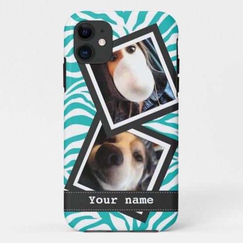 Turquoise Zebra with  2 Square Instagram Photos Phone Case