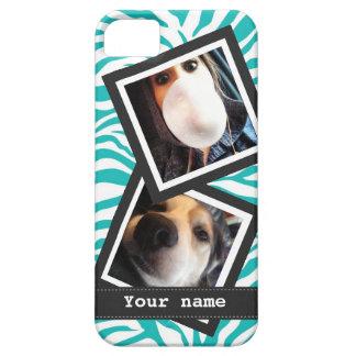 Turquoise Zebra with  2 Square Instagram Photos iPhone 5 Case