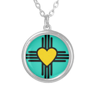 Turquoise Zia Heart Silver Plated Necklace