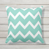 Turquoise Zigzag Chevron Pattern Outdoor Pillows