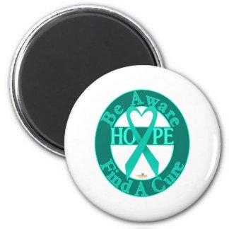 TurquoiseHeartRibbonBeAwareFindCureDark 2 Inch Round Magnet