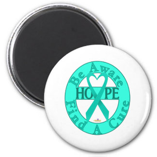 TurquoiseHeartRibbonBeAwareFindCureLight 2 Inch Round Magnet