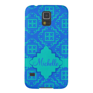 Turquosie Blue Arabesque Moroccan Custom Name Galaxy S5 Cover
