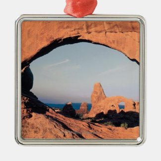 Turret arch , Arches National Park , Utah Square Metal Christmas Ornament