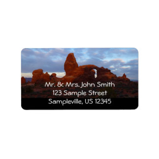 Turret Arch at Sunrise in Arches National Park Label
