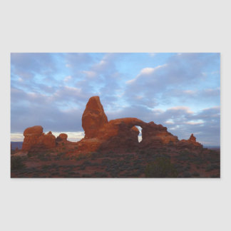 Turret Arch at Sunrise in Arches National Park Rectangular Sticker