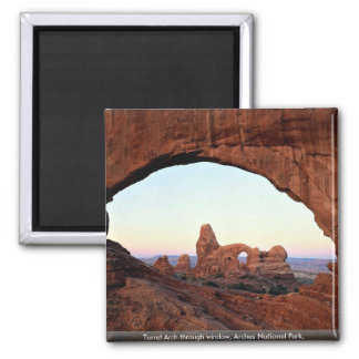 Turret Arch through window, Arches National Park, 2 Inch Square Magnet