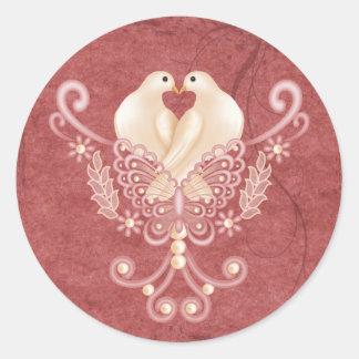 Turteltauben - palomas del amor pegatina redonda