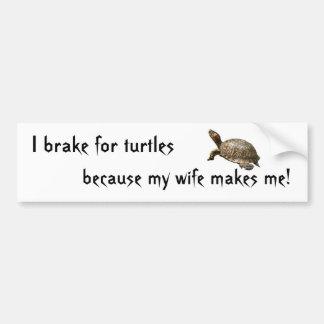 turtle1, freno para las tortugas, porque mi esposa pegatina para auto