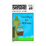 Turtle 1st Birthday Postage Stamp