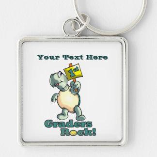 """Turtle """"1st Graders Rock"""" Design Keychain"""