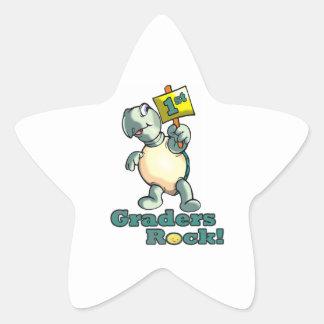 """Turtle """"1st Graders Rock"""" Design Star Sticker"""