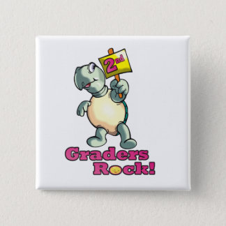 "Turtle ""2nd Graders Rock"" Design Pinback Button"