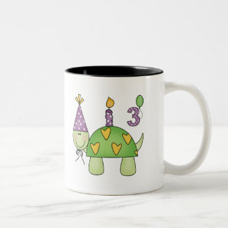 Turtle 3rd Birthday Gifts Two-Tone Coffee Mug