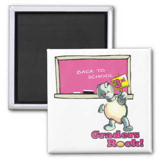 "Turtle ""3rd Graders Rock""  Design 2 Inch Square Magnet"