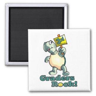 """Turtle """"3rd Graders Rock"""" Design magnet"""