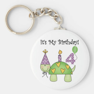 Turtle 4th Birthday Tshirts and Gifts Basic Round Button Keychain
