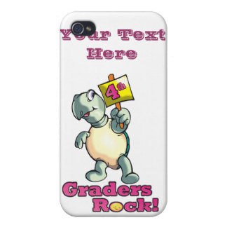 """Turtle """"4th Graders Rock"""" Design Covers For iPhone 4"""