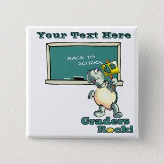 """Turtle """"4th Graders Rock"""" Design Pinback Button"""