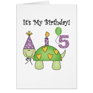 Turtle 5th Birthday Tshirts and Gifts Card