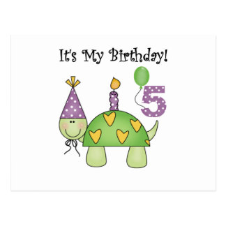 Turtle 5th Birthday Tshirts and Gifts Post Card