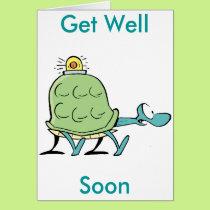 Turtle Ambulance Cartoon Get Well Soon Card
