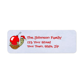 Turtle and Christmas Ball Ornament Return Address Label