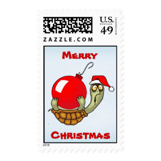 Turtle and Christmas Ball Ornament Postage Stamps