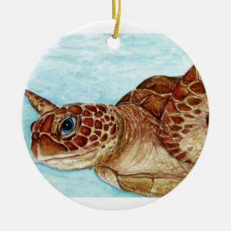 turtle and crab Double-Sided ceramic round christmas ornament