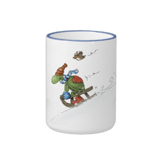 turtle and friend ringer coffee mug