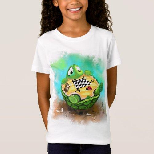 Turtle and Ladybug Playing Chess _ Cartoon Drawing T_Shirt