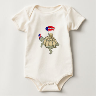 turtle and snail American flag Baby Bodysuit