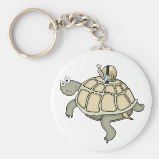 turtle and snail buckled up driver's license keychain