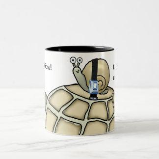 Turtle and snail buckled up. Gift mug. Two-Tone Coffee Mug