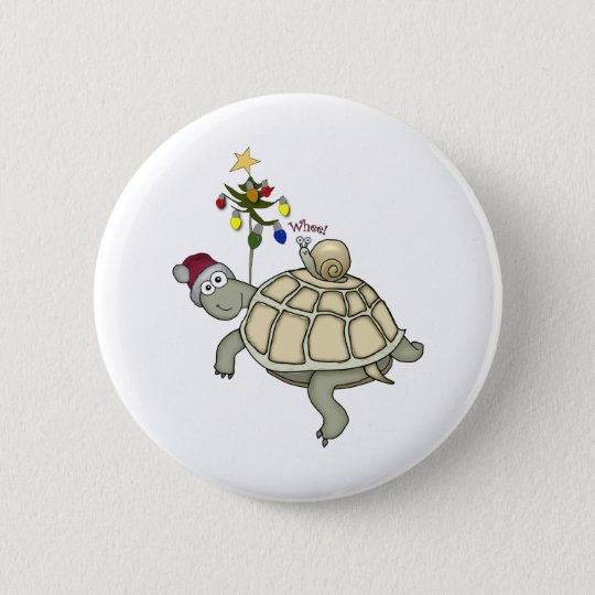 Turtle and Snail Christmas Button