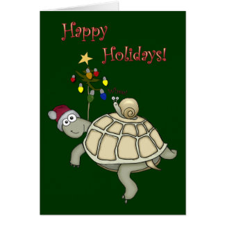Turtle and Snail Christmas Card