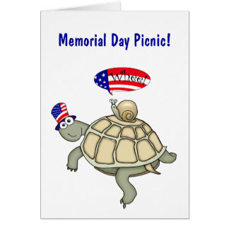 Turtle and Snail Memorial Day Picnic Card