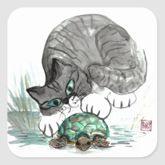 Turtle and Tiger Kitten Square Sticker