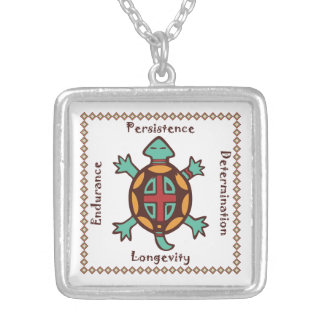Turtle animal spirit silver plated necklace