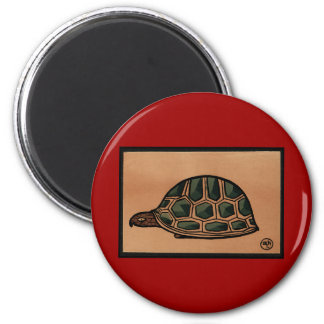 Turtle - Antiquarian, Colorful Book Illustration 2 Inch Round Magnet