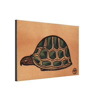 Turtle - Antiquarian, Colorful Book Illustration Canvas Print